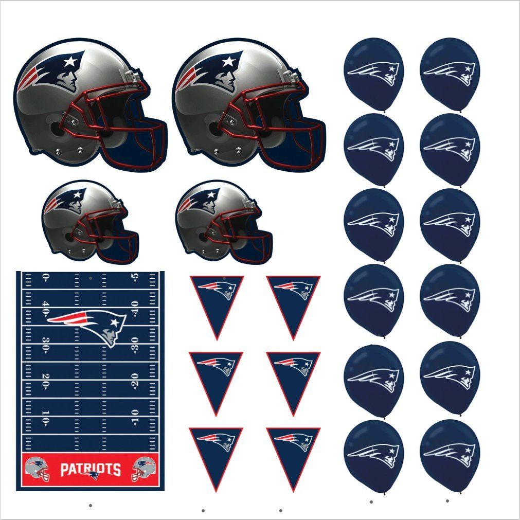 New England Patriots Football Decorations: Wall Helmet Cutouts, Balloons, Pennant Banner & Table Cover