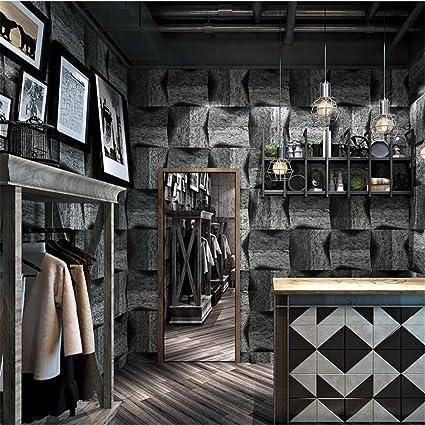 HM Papel pintado retro nostálgico industrial estilo patrones de piedra rollo de papel tapiz 3D para