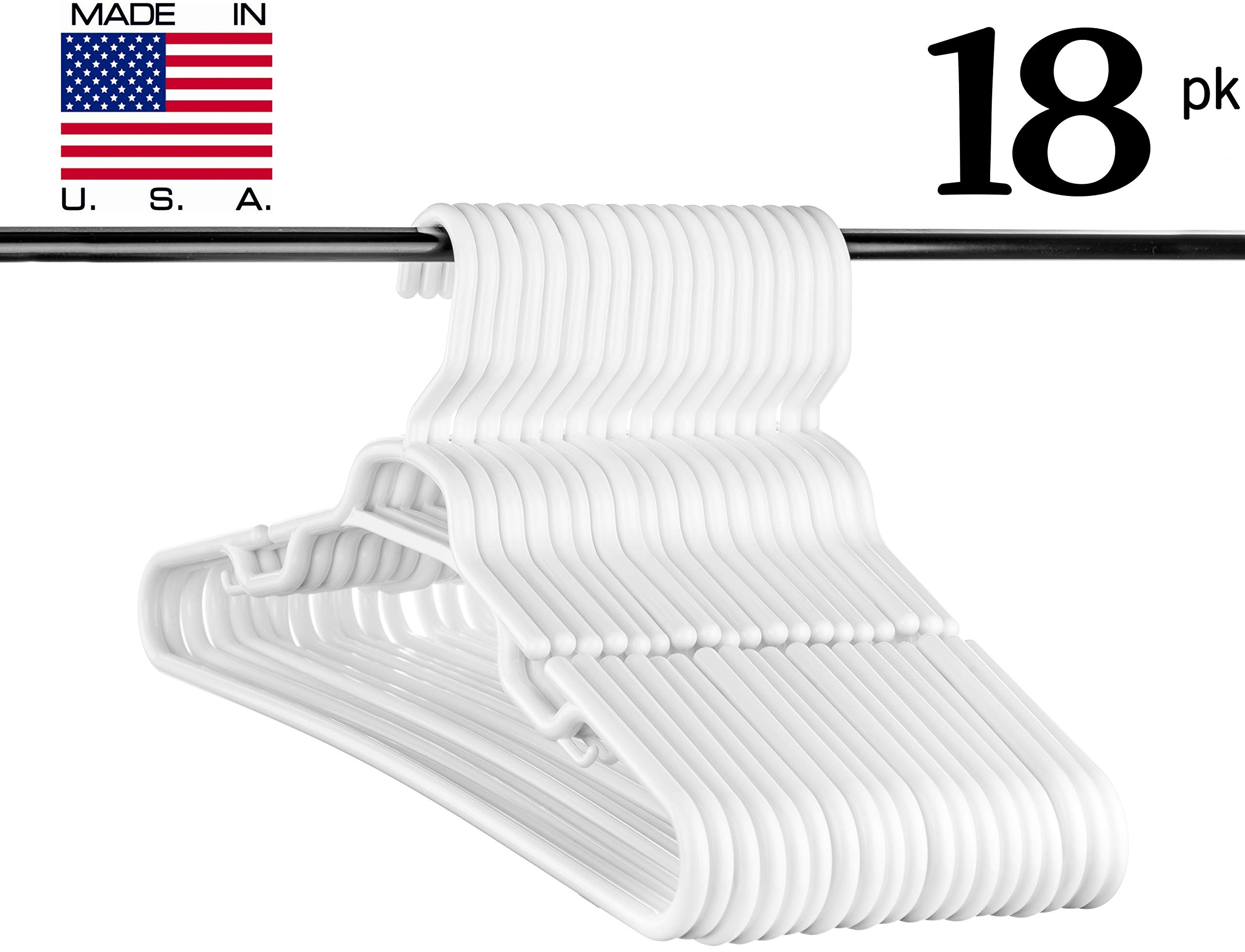 Neaties USA Made Heavy Duty Extra Large White Plastic Hangers, Set of 18