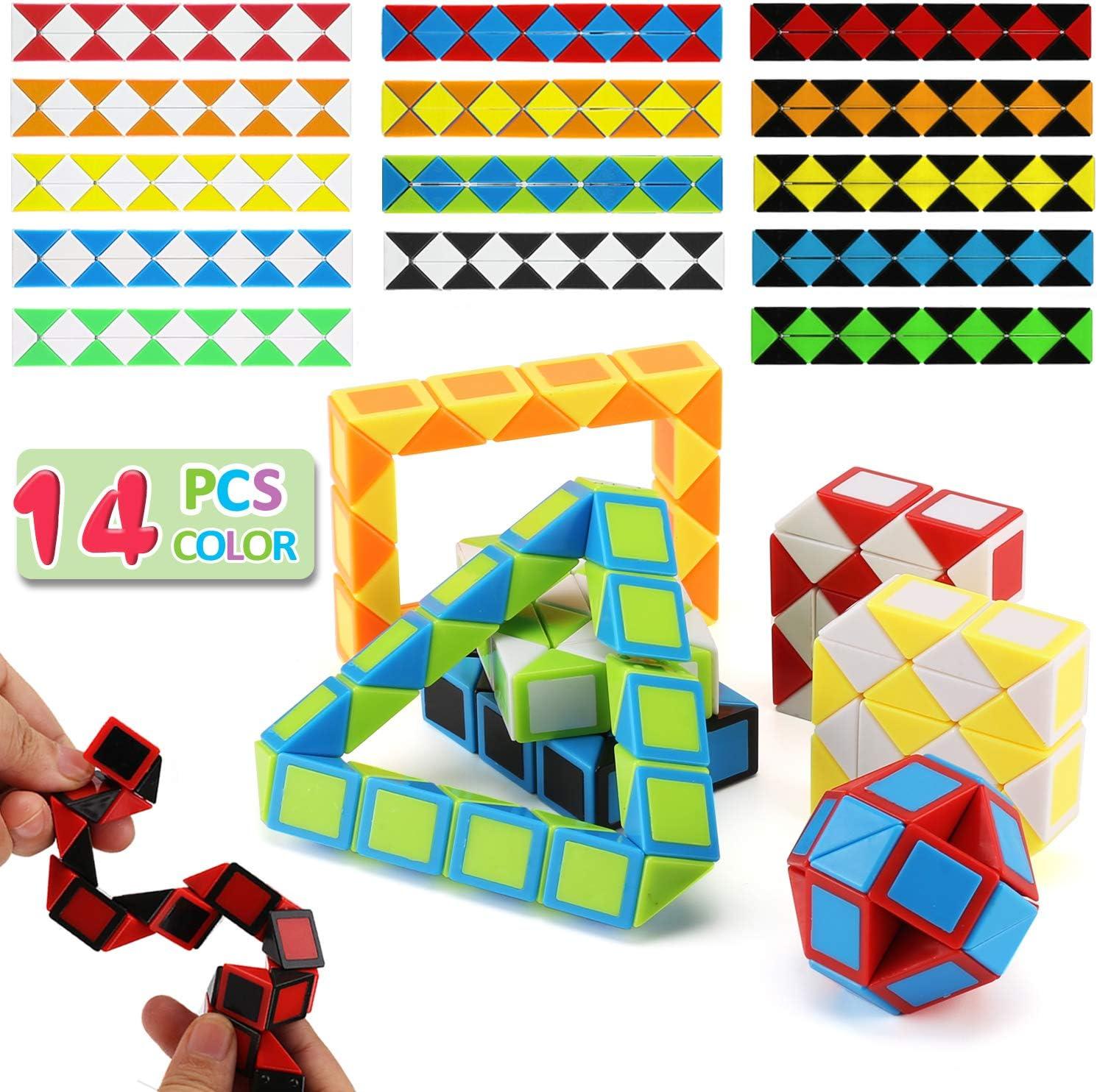 24 Pcs Magic Vitesse serpent cube 24 blocsTwist Puzzle Bangers jouets pour enfants Kids