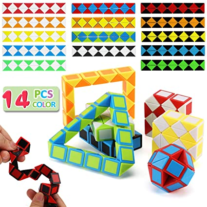 14 Pack Speed Snake Cube Puzzle Toys Set24 Blocks Twist Fidget Gift