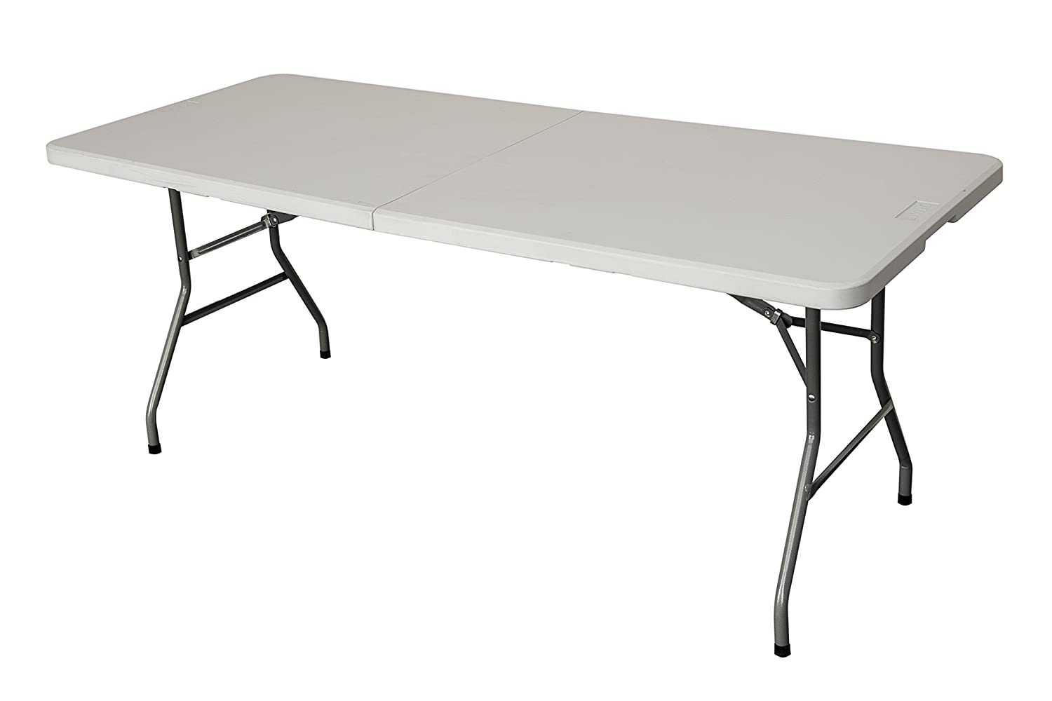 LIVIVO Set of 2 Heavy Duty 6ft Folding Table – Extra Strong and Durable Multi-Purpose Portable Trestle Table Suitable for Indoor and Outdoor Use – Folds Flat for Simple Storage with Ergonomically Designed Carry Handle for Easy Transport - Easy Wipe Clean
