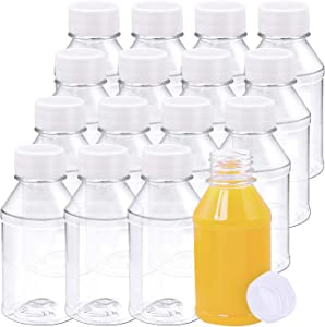 Aneco 16 Pack 4 Ounce Empty Plastic Juice Bottles Reusable Drink Containers with Lids Idea for Storing Juices, Water and Other Homemade Beverages
