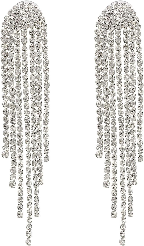 SELOVO Clear Austrian Crystal Chandelier Tassel Long Big Statement Chain Dangle Drop Earrings Silver Tone