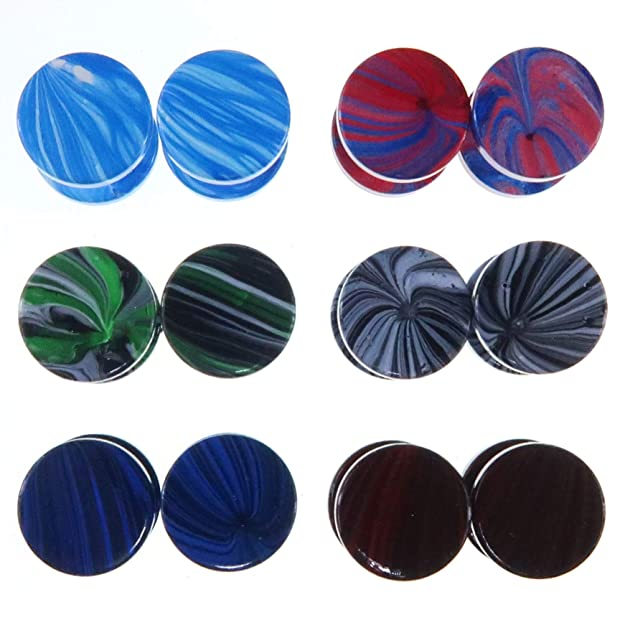 LilMents - Juego de 6 pares de pendientes circulares estilo dilataciones, acero inoxidable, 10 mm, diseño de trazos de pintura
