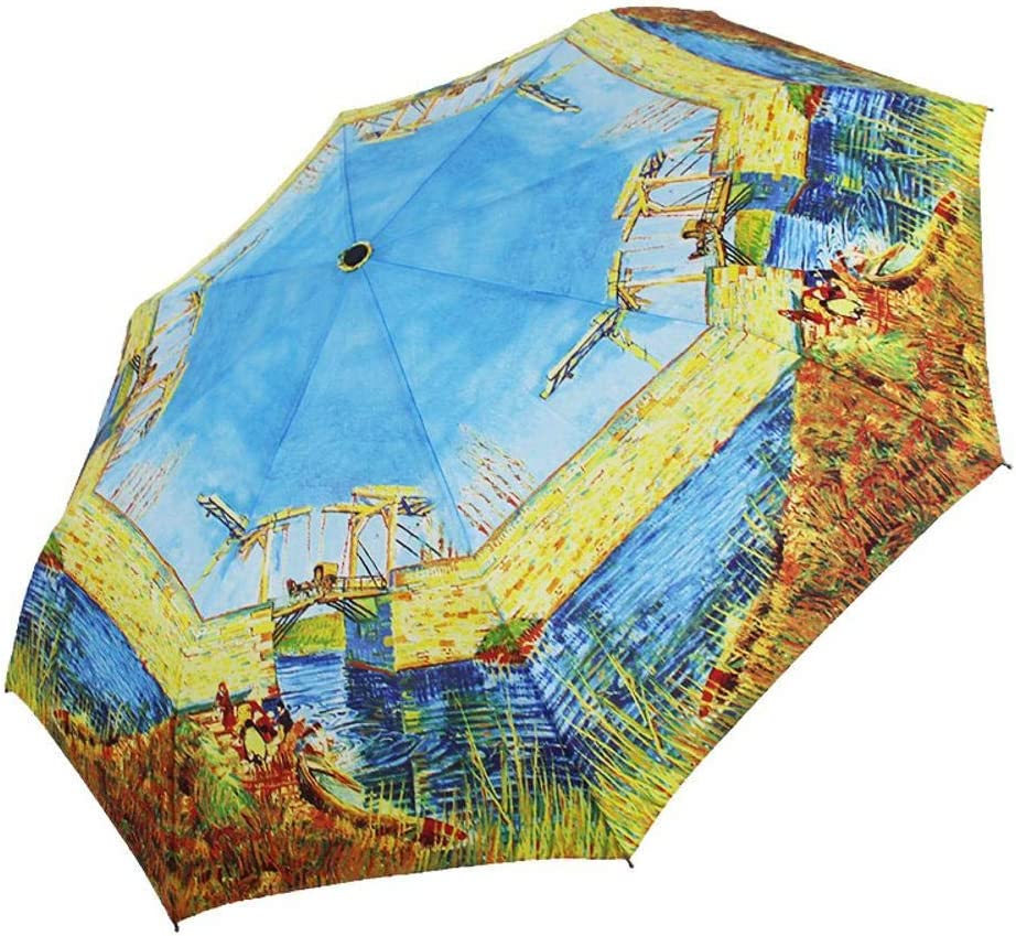 TtKj Folding Umbrella Creative Classic Oil Painting Hand Open Wooden Handle Folding Clear Umbrella