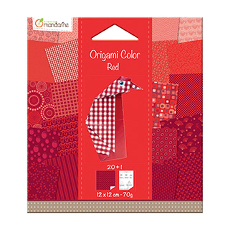 Avenue Mandarine - Carta per origami, 20 fogli, 12 x 12 cm, colore: Bianco/Nero 42687O