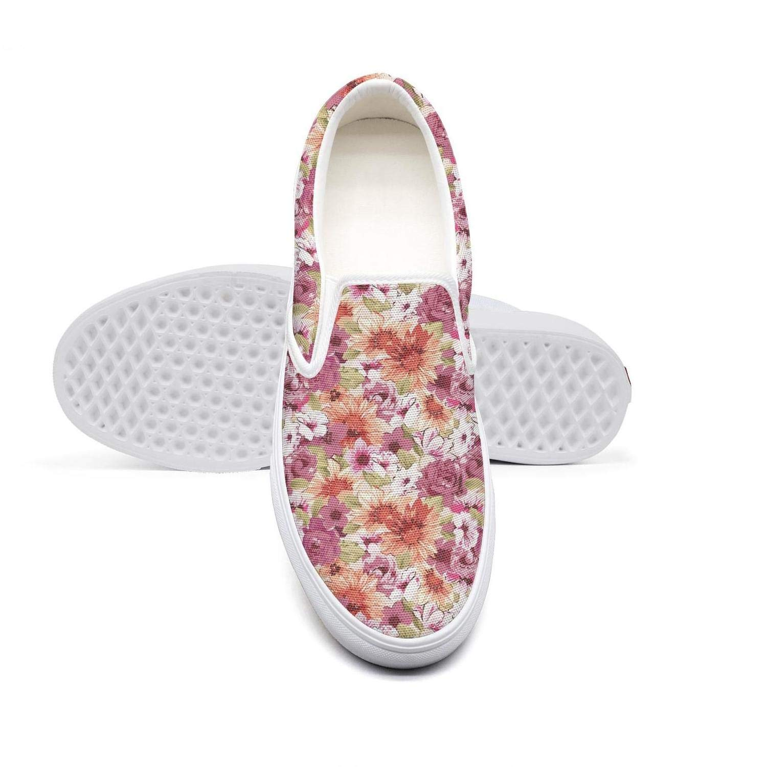 Seamless Pattern with Colorful Flower Vector Womens Casual Slip-on Canvas Loafer Fashion Sneaker Breathable Flat Walking Gym Shoes