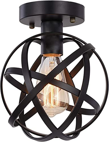 HOXIYA Semi-Flush Mount Ceiling Light with Black Metal Cage Pendant Light for Hallway Tairway Porch Bedroom Kitchen Farmhouse Foyer Garage Flush Mount Light Fixture