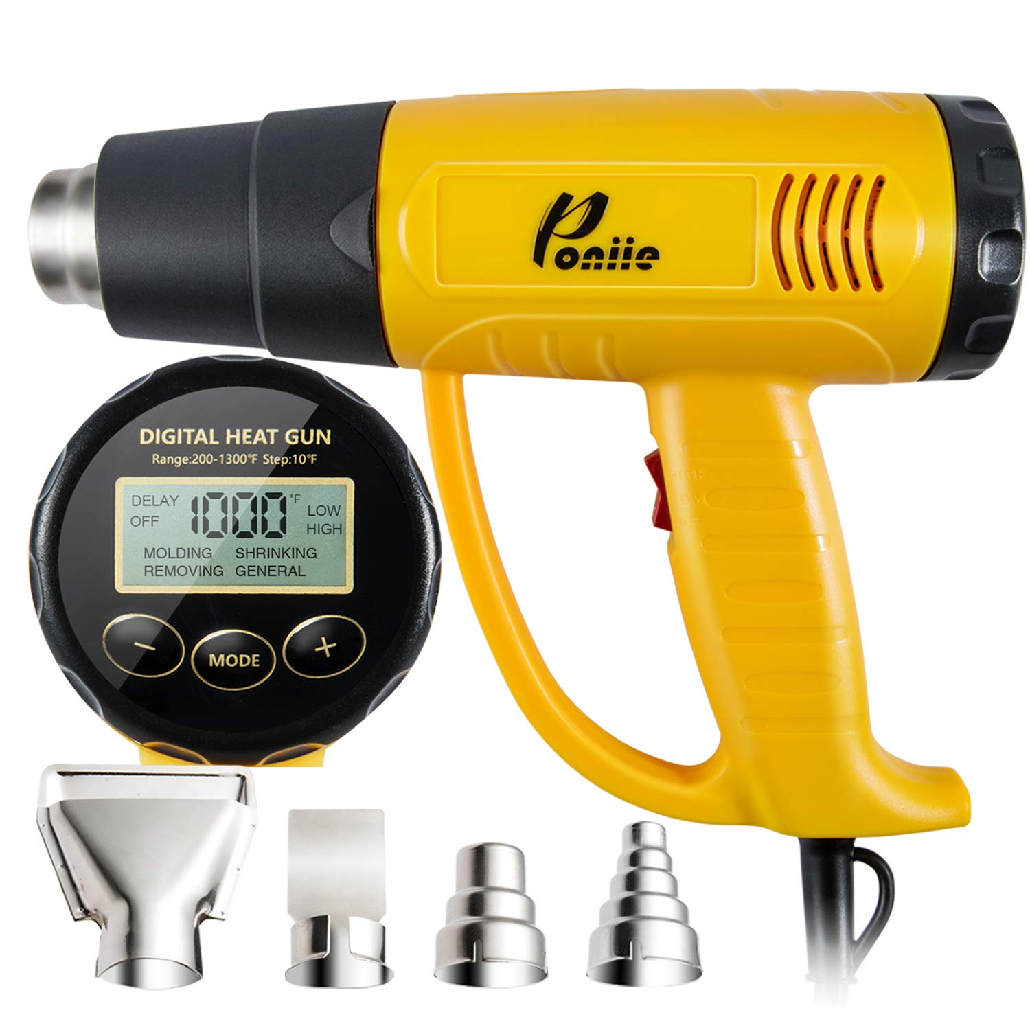 Poniie PN-H20 Digital Temperature Control LCD Heat Gun 1800W Heavy Duty Hot Air Gun 200~1300℉ for Crafts, Shrink Wrapping, Paint Remover
