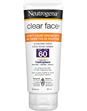 Neutrogena Clear Face Sunscreen Lotion SPF 60 for Acne Prone Skin, Water Resistant, Non Comedogenic, 88 mL Travel Size