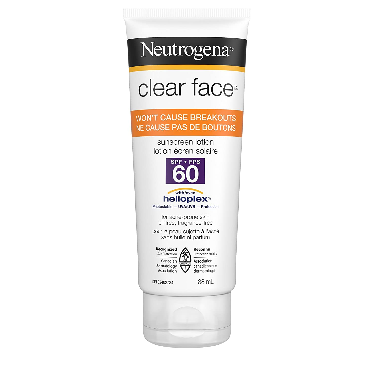 Neutrogena Clear Face Sunscreen Lotion SPF 60 for Acne Prone Skin, Water Resistant, Non Comedogenic, 88ml Neutrogena Suncare