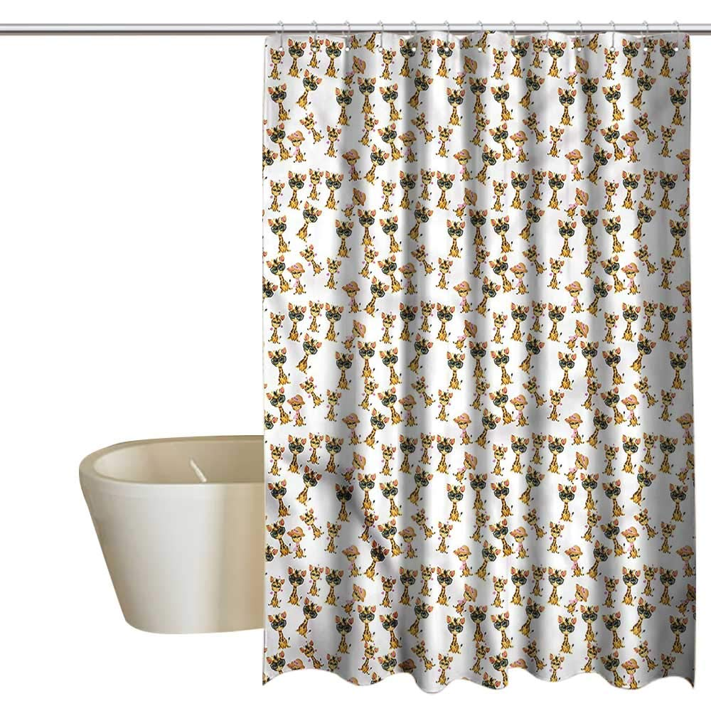 Denruny Shower Curtains Gold Giraffe,Romantic Characters,W108 x L72,Shower Curtain for Kids