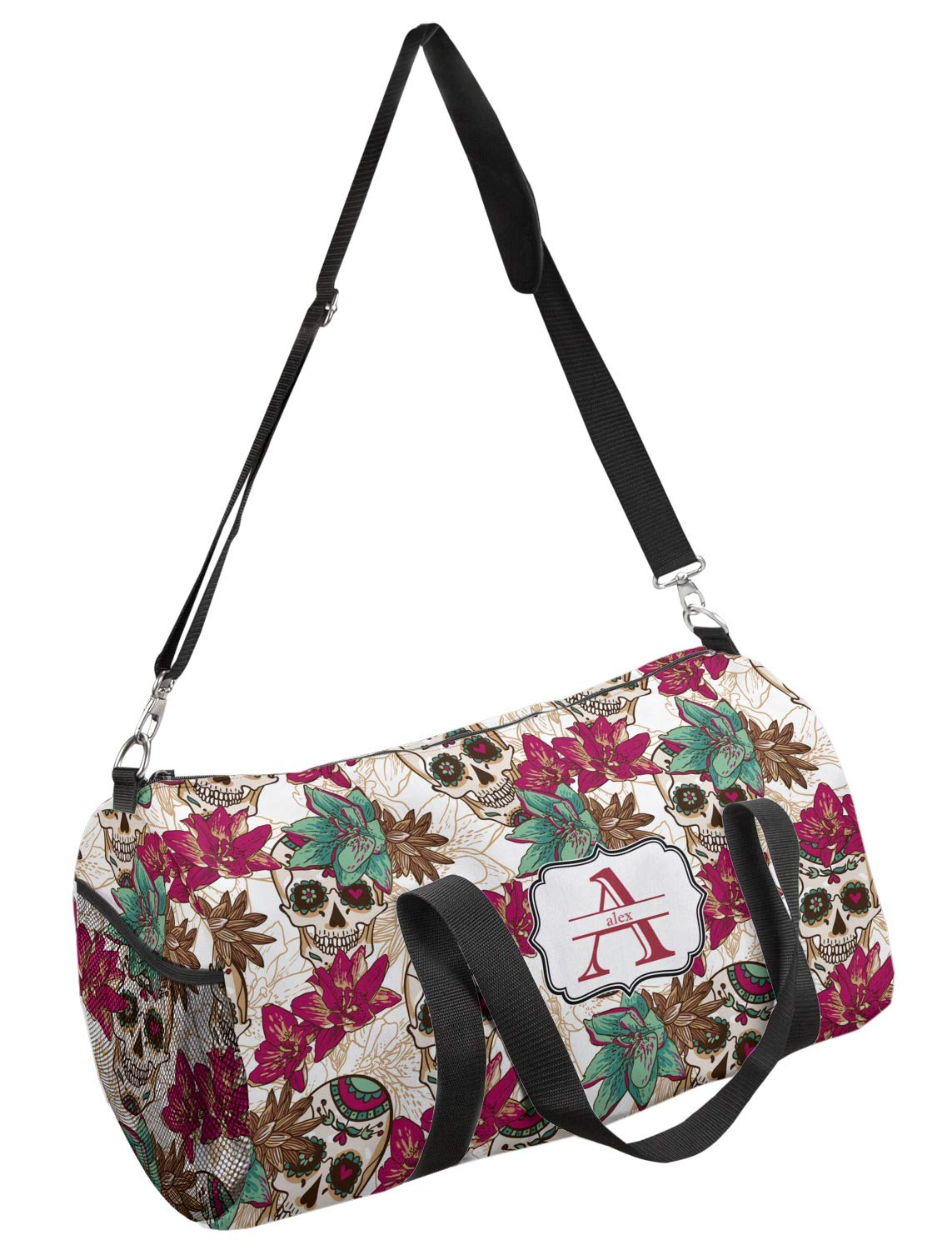 Personalized YouCustomizeIt Sugar Skulls /& Flowers Duffel Bag Multiple Sizes
