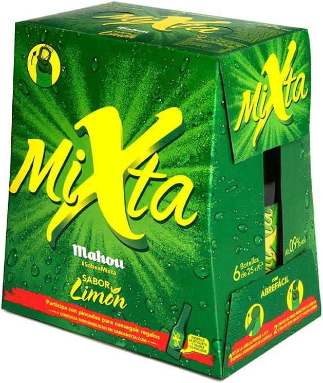 Mahou Mixta Cerveza Clara, 0.9% de Volumen de Alcohol - Pack de 6 x 25 cl