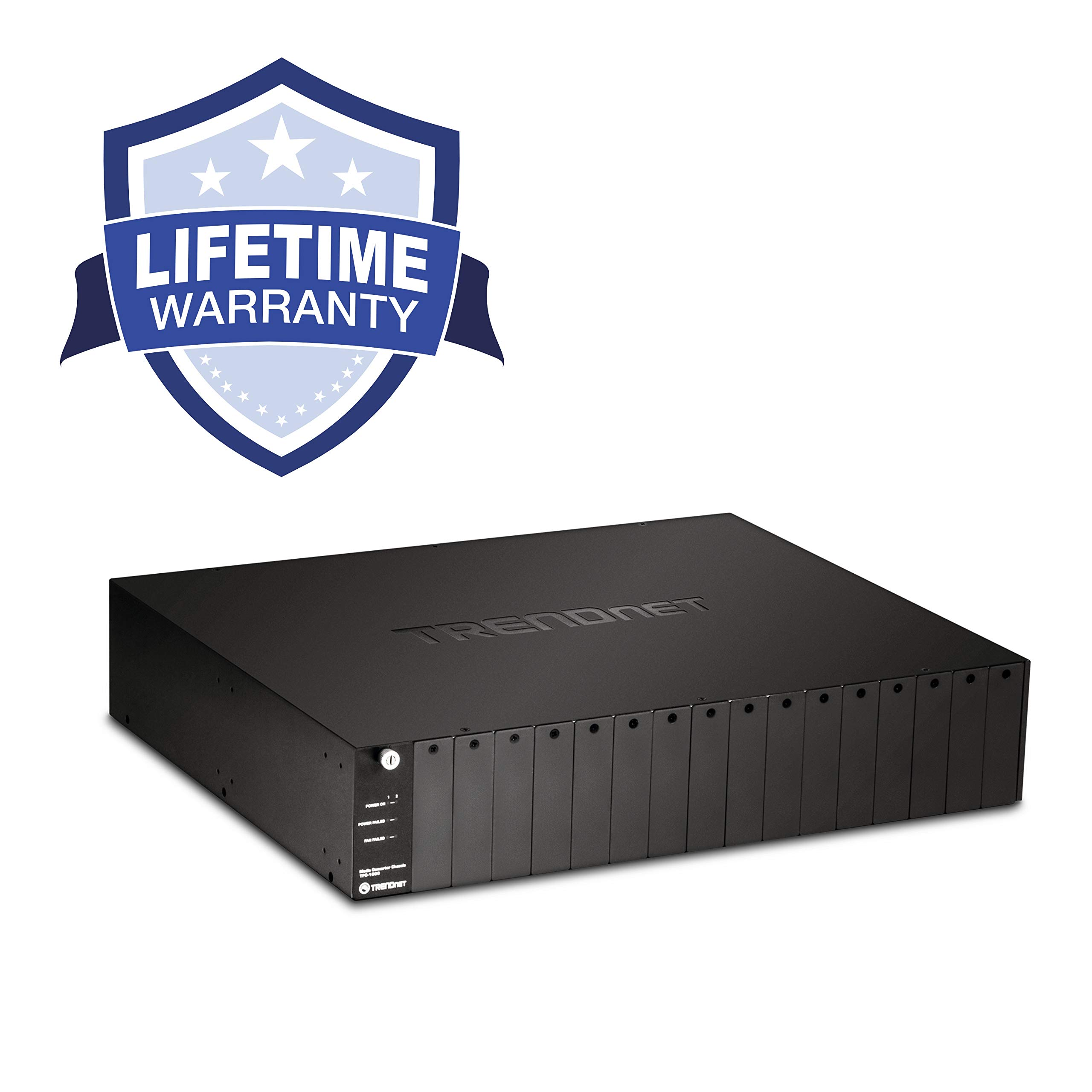 TRENDnet 16-Bay Fiber Converter Chassis System, Hot Swappable, Housing for up to 16 TFC Series Media Converters, Fast Ethernet RJ45, RS-232, SNMP Management Module, Lifetime Protection, TFC-1600 by TRENDnet