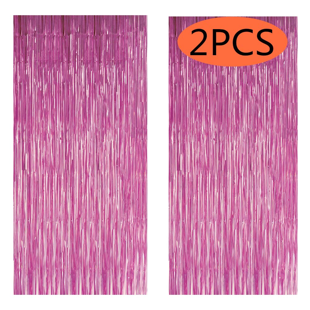 FECEDY 2pcs 3ft x 8.3ft Light Pink Metallic Tinsel Foil Fringe Curtains Photo Booth Props for Birthday Wedding Engagement Bridal Shower Baby Shower Bachelorette Holiday Celebration Party Decorations