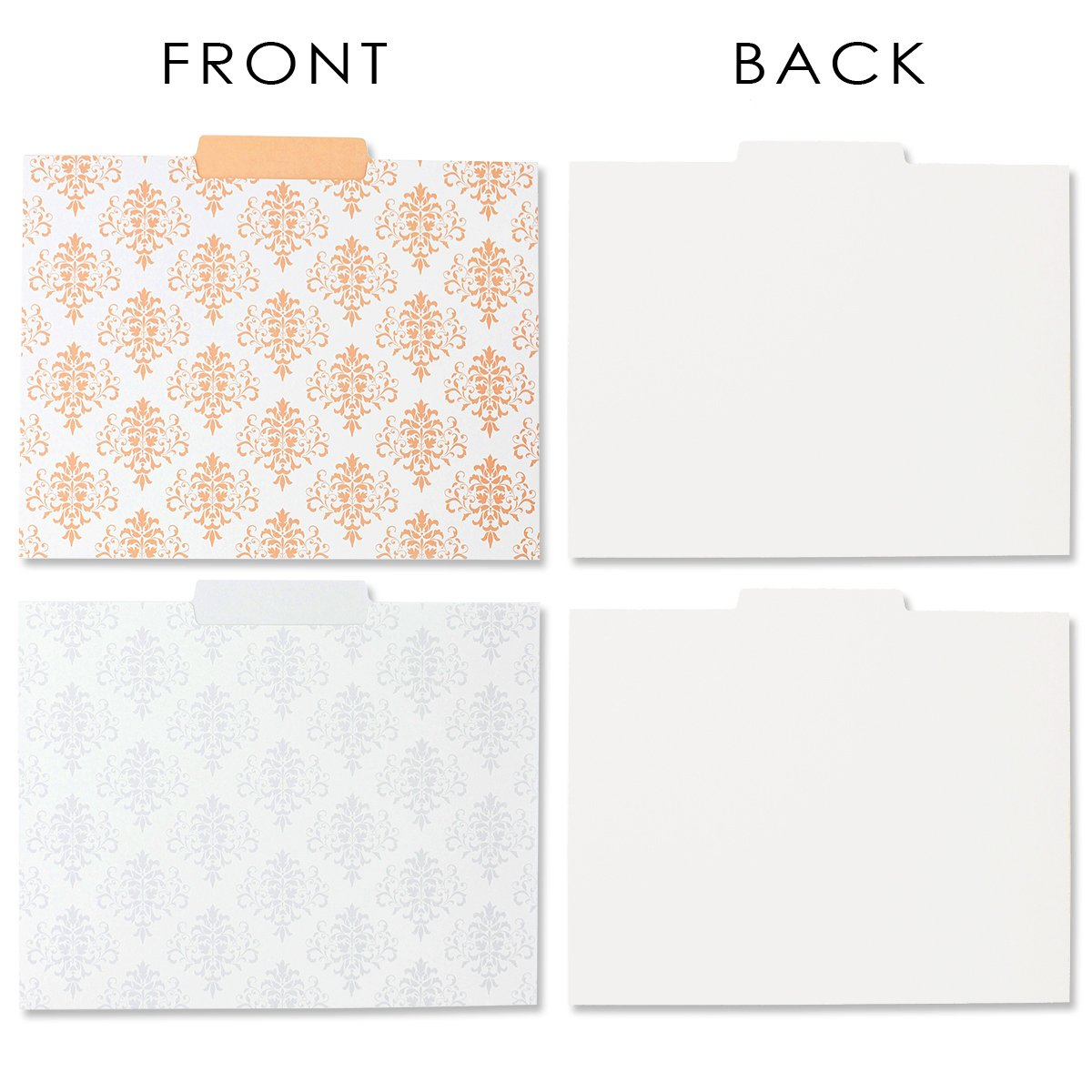 Decorative File Folders - 12-Count Colored File Folders Letter Size, 1/3-Cut Tabs, Includes 6 Cute Damask Patterns, 2 of each, File Filing Organizers, 9.5 x 11.5 Inches by Best Paper Greetings (Image #4)