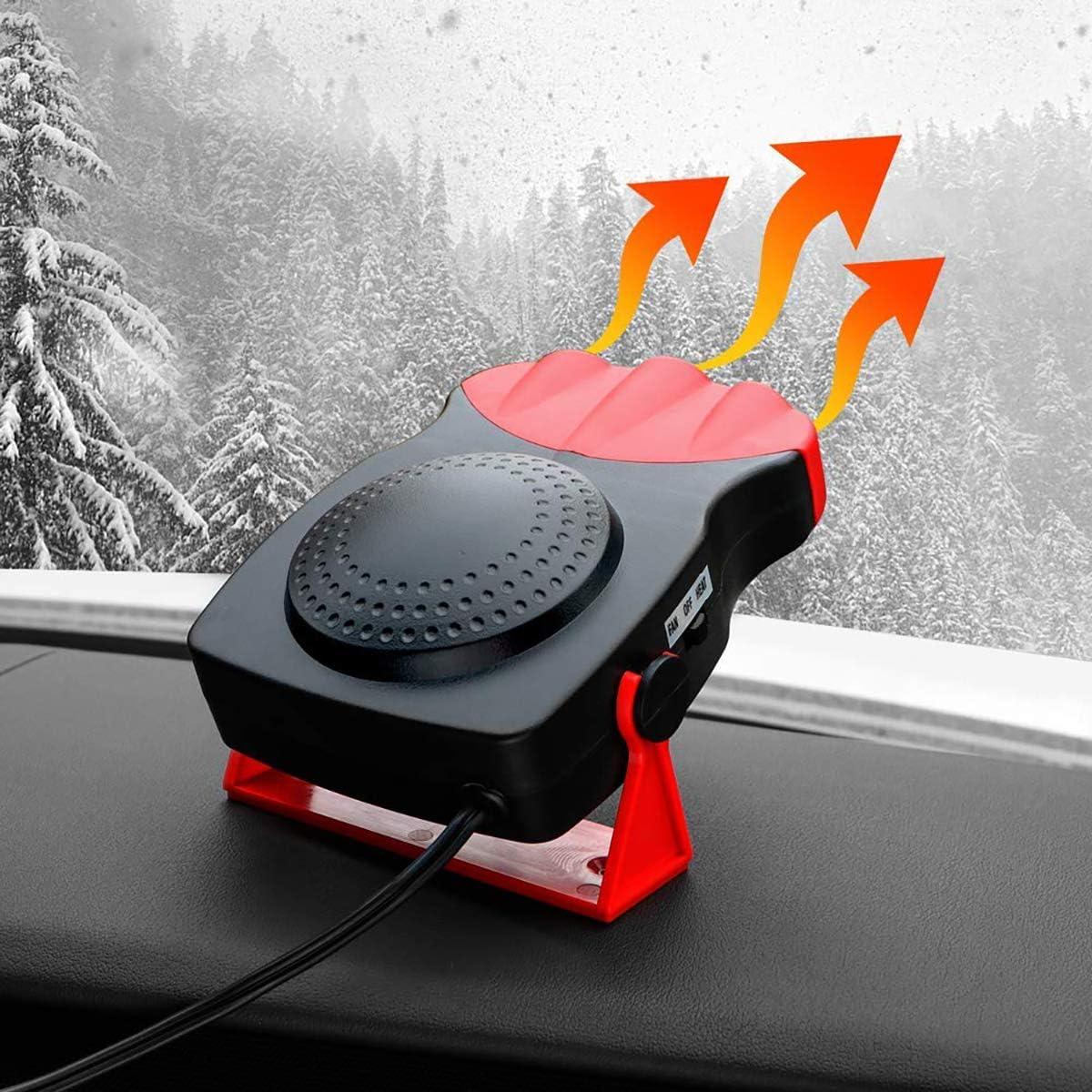 Tragbare Autol/üfterheizung 24V Auto Windschutzscheibenentfroster Defogger Auto Window Demister Plug-In Zigarettenanz/ünder f/ür LKW Auto und Heizl/üfter f/ür den Winter Sommer 12V 2-in-1-K/ühl