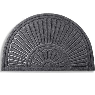 Mibao Half Round Door Mat, Non-Slip Welcome Entrance Way Rug, Durable Low-Profile Easy to Clean Front Outdoor Heavy Duty Doormat, 24  x 36 , Grey