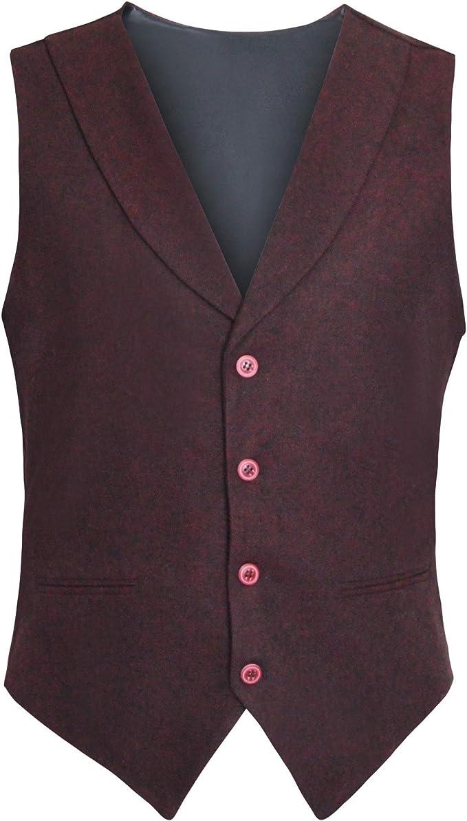 Men/'s Formal Vest Tweed V Neck Sleeveless Waistcoat Herringbone Wedding Prom PJ