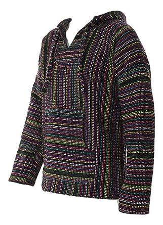 Sudadera mexicana baja jerga con capucha estilo festival hippie, color negro y multicolor: Amazon.es: Ropa y accesorios