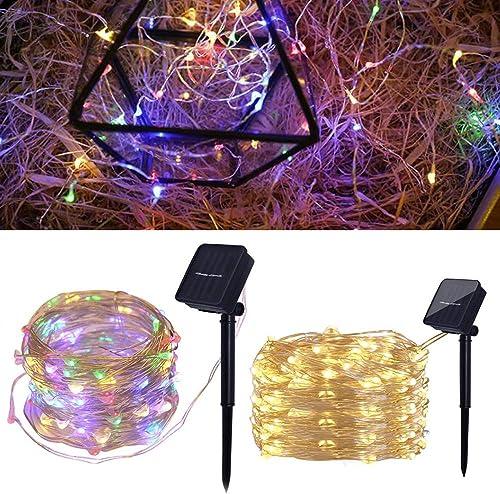 Greatstar 2Pcs Solar LED Fairy Deck Lights 200 LED Waterproof Rope Solar Light String Solar Tube Lights Outdoor Indoor for Halloween,Christmas,Birthday,Party Warm White Two Packs