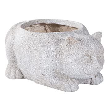 Creaciones meng Pflanzkübel Katze Zement mit Loch, Ton, Glasfaser ...