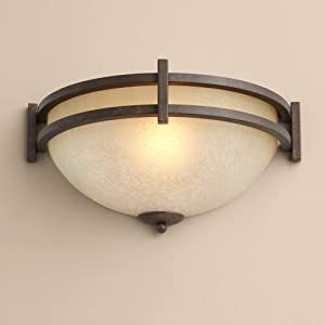 """Oak Valley Collection Mission Cottage Wall Light Sconce Rustic Bronze Hardwired 14 1/2"""" Wide Fixture Pocket Scavo Glass for Bedroom Bathroom Hallway - Franklin Iron Works"""