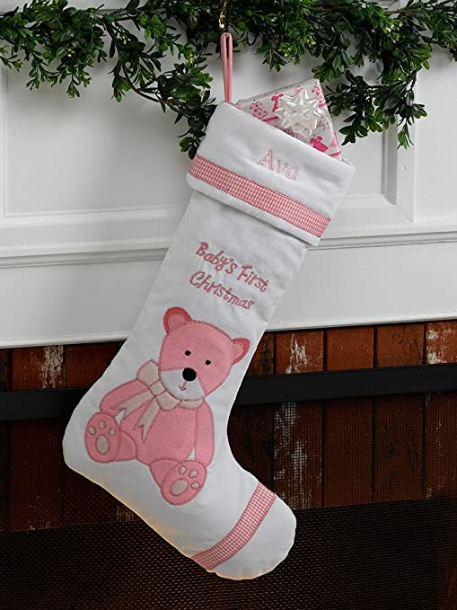 Christmas Stocking Personalized.Baby S First Personalized Christmas Stocking Girl