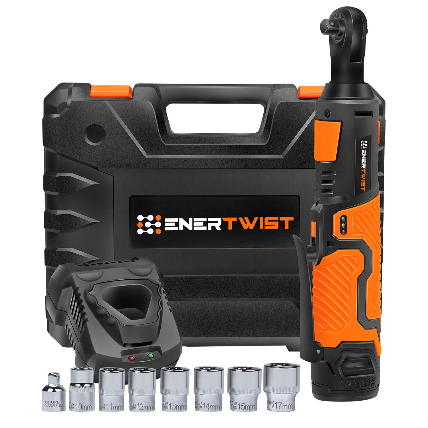EnerTwist Cordless Electric Ratchet Wrench 3/8 Inch with 12V Lithium-ion Battery and Fast Charger Includes 7-Piece 3/8'' Metric Sockets Kit and 1/4'' Adaptor, ET-RW-12 by ENERTWIST (Image #1)