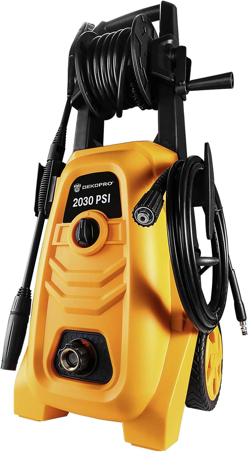 DEKOPRO 2030 PSI Electric Pressure Washer Electric Power Washer 1.4 GPM 1900W High Pressure Washer Cleaner with Hose Reel