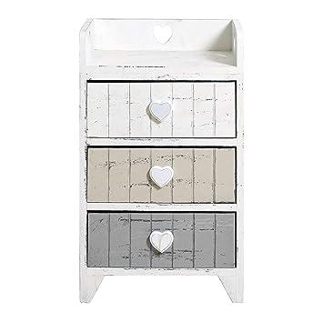 Rebecca Mobili Mesita de noche con 3 cajones, cajonesra blanca beige gris, madera de paulownia, shabby, dormitorio baño- Medidas: 58 x 35 x 28 cm (...