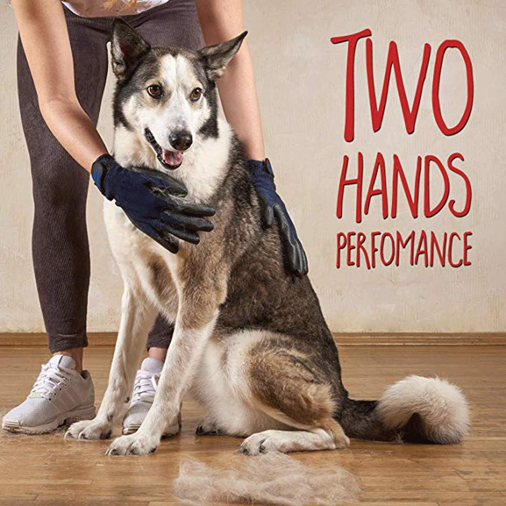 WE&ZHE Pet Grooming Gloves - Left & Right Cats, Dogs & Horses - Long & Short Fur - Gentle De-Shedding Brush - Pet to Float Hair Beauty Gloves,5PCS by WE&ZHE (Image #4)