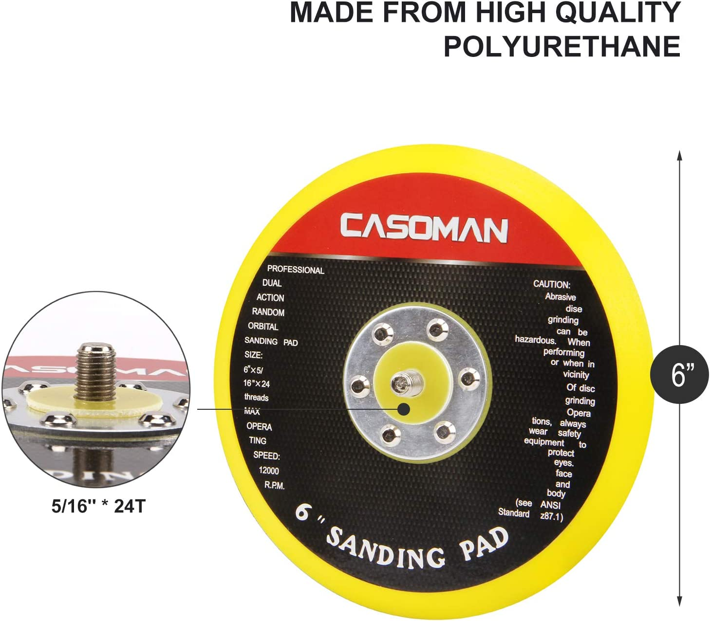 "CASOMAN 150mm//6-Inch DA Backing Pad 5//16/""-24 Threads Hook /& Loop Face 6 DA Polisher /& Sander Pad"