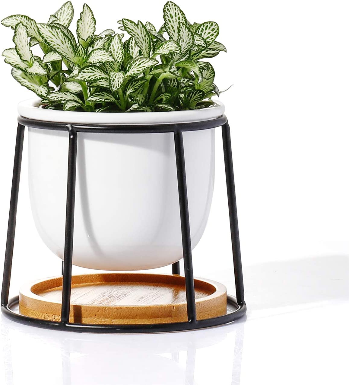 POTEY Ceramic Succulent Planter Pots - 3 Inch Modern Century Indoor Cactus Tabletop Container with Matte Black Metallic Stand with Watering Drain Holes 211111