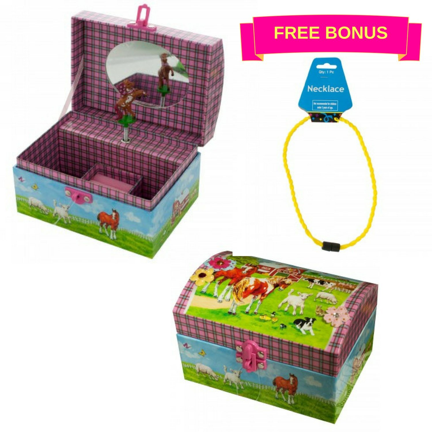 Horse Musical Jewelry Box for Girls - Beautiful Musical Necklace Box that comes with a Free Cool Gifts Yellow Necklace - The Perfect Girl Gifts for Cowgirls and Horse Lovers by BoomBoxHub (Image #2)