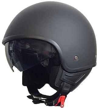 rallox Helmets Chopper Casco 074 Negro/Mate rallox Jet Casco de Moto con Parasol (