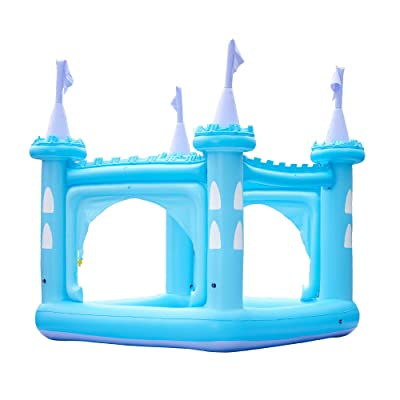 Teamson Kids Inflatable Castle Kiddie Pool Play Center with Sprinkler Blue with Pump: Toys & Games