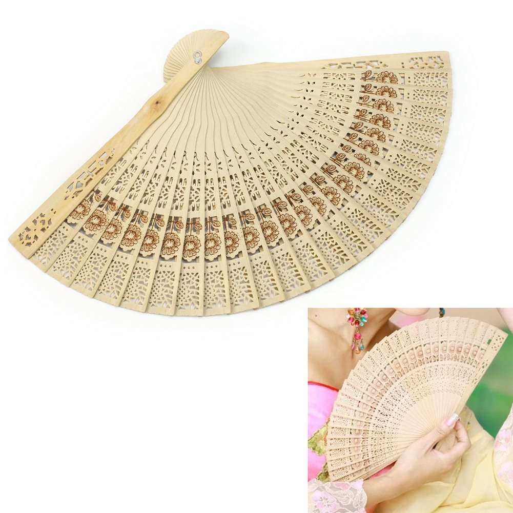 Refaxi 1x Vintage Folding Chinese Women Lady Hollow Wooden Hand Fan Wedding Bridal Party Gift