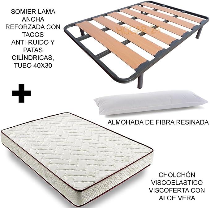 Colch/ón Viscobrown Reversible 4 Patas de 26cm Almohada de Fibra HOGAR24 ES Cama Completa 80x180 cm Somier Lama Ancha