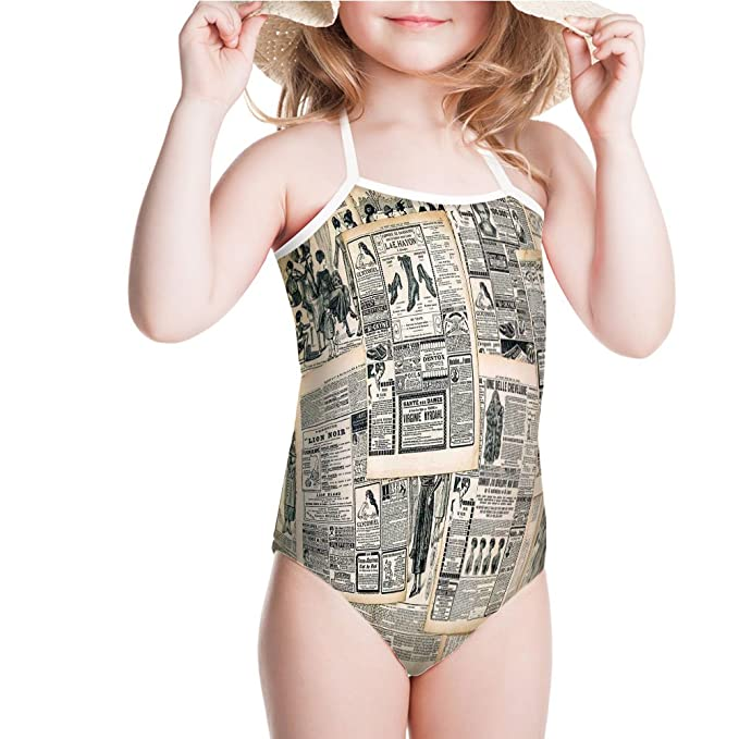 08c1ec42e1 iPrint Swimsuit Sepia Toned Newspaper Print with Old Fashioned for 3-4ages