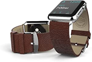 42mm Apple Watch Repalcement Band, X-Doria Lux Band, Genuine Leather, Brown Leather for Apple Watch All Models