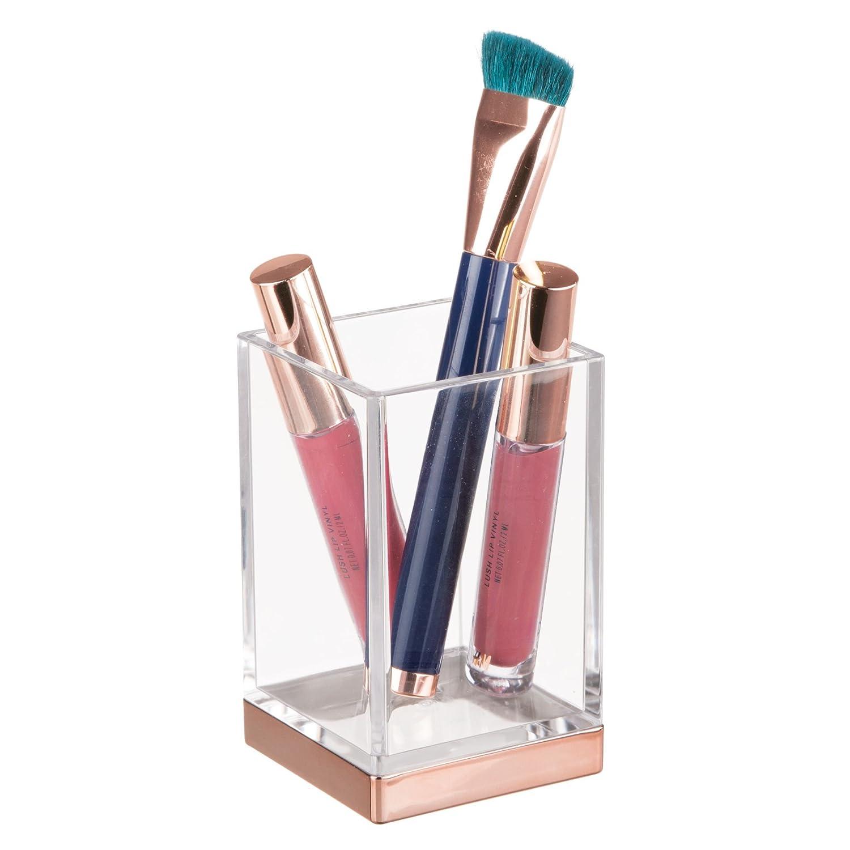 Porta cepillos de dientes transparente/dorado rosa mDesign Juego de 4 accesorios para el baño Fabricados en plástico resistente dosificador de jabón jabonera de baño y vaso