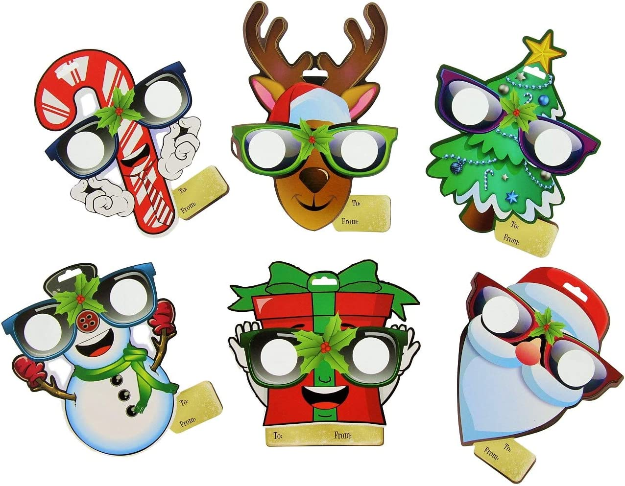 Amazon Com Eyepop Ornaments By Holiday Specs 6pk Look Through Lenses And See Candy Canes Snowmen Presents Santa Reindeer Or Trees Appear Before Your Eyes Kitchen Dining