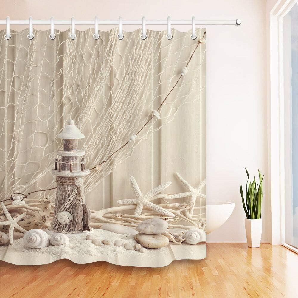 Nautical Decor Shower Curtains Sets Lighthouse Blue Wood Panels Fishing Nets