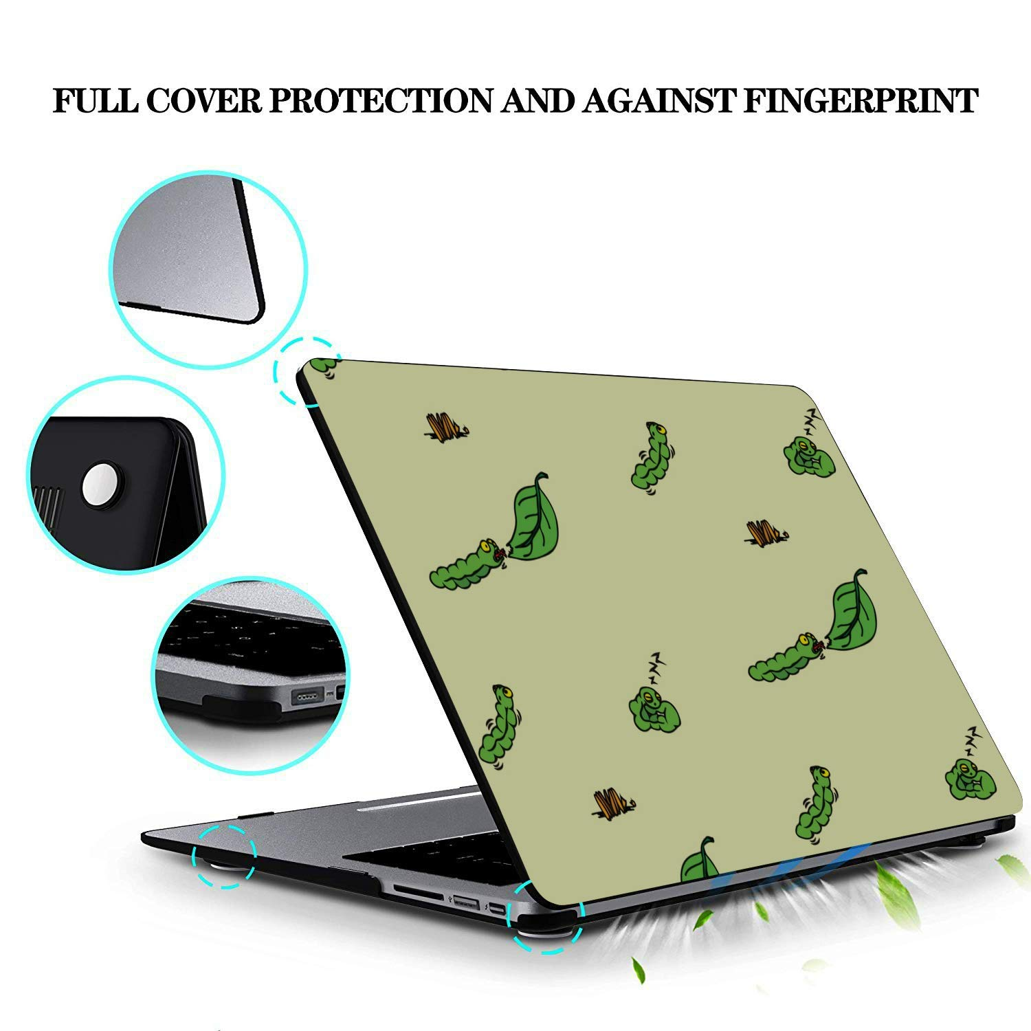Mac Cover Small Cute Cartoon Reptile Silkworm Plastic Hard Shell Compatible Mac Air 11 Pro 13 15 Case for Mac Protection for MacBook 2016-2019 Version