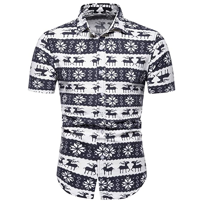 01fca3a2cdf321 Amazon.com  Sagton Men s Deer Print Short Sleeve Casual Plus Size Hawaiian  Shirt  Clothing