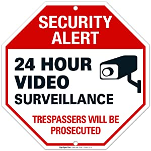 Video Surveillance Sign | Surveillance Sign, 12x12 Heavy 0.40 Aluminum, UV Protected, Long Lasting Weather/Fade Resistant, Easy Mounting, Indoor/Outdoor Use, Made in USA by SIGO SIGNS