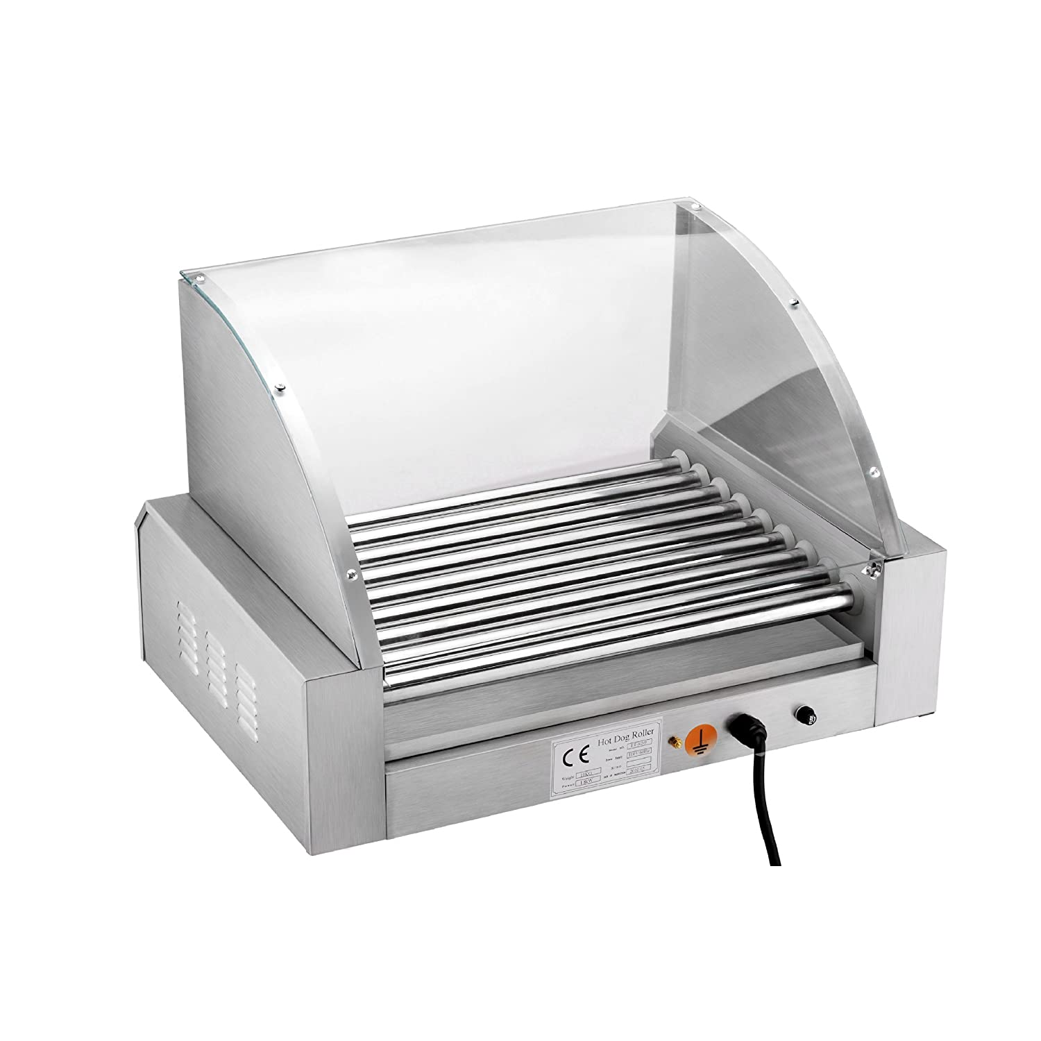 Uncategorized Hot Dog Cookers Specialty Kitchen Appliances amazon com great northern mad dawg commercial 9 roller stainless steel hot dog machine with cover electric rotisseries kitchen